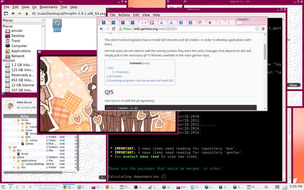 Gentoo, Chrome, LXQT y un video vocaloid en Mplayer.