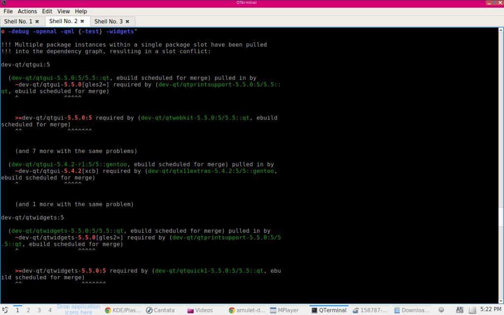 Conflictos entre versiones QT en Gentoo.